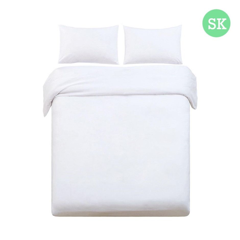 Giselle Bedding Super King Classic Quilt Cover Set - White