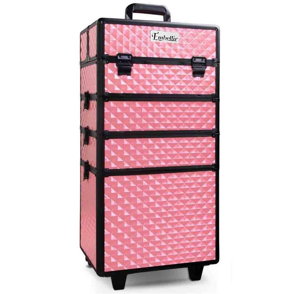 Embellir 7 in 1 Portable Cosmetic Beauty Makeup Trolley - Diamond Pink