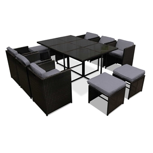 Gardeon 11 Piece PE Wicker Outdoor Dinin
