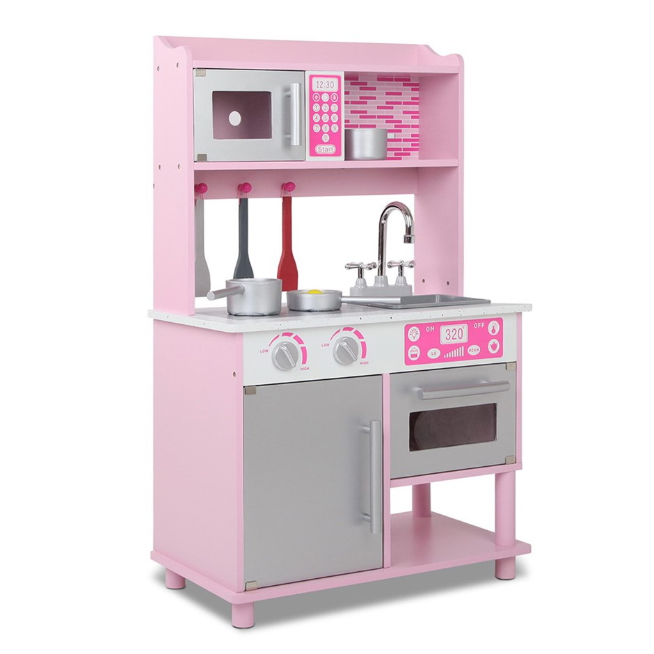 Keezi Kids Wooden Kitchen Play Set - Pink & Silver