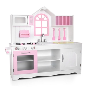 Keezi Kids Wooden Kitchen Play Set - Whi