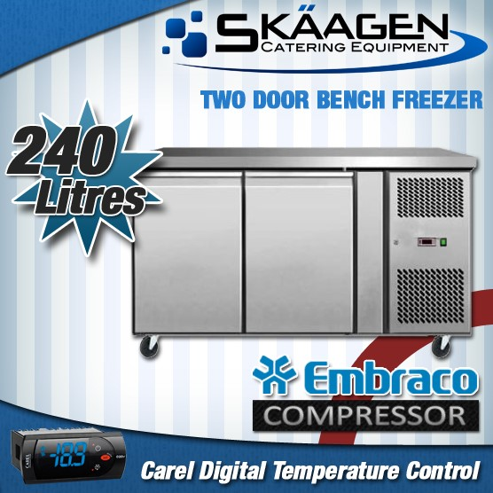 Unused 240L S/Steel Door Bench Freezer