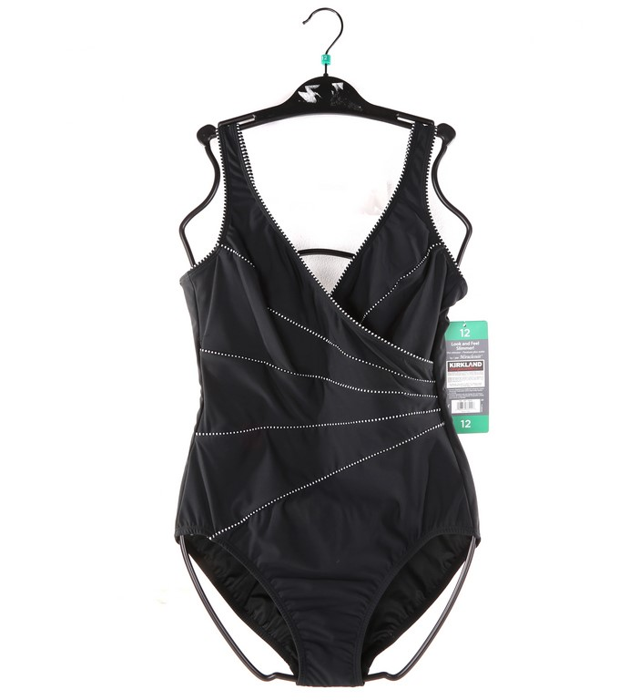 SIGNATURE Women`s Look and Feel Slimmer 1pc Swimsuit, Size 12, Black. Buyer
