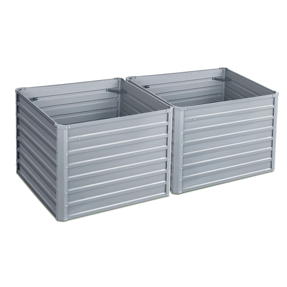 2x Galvanised Steel Raised Garden Bed Planter 100 x 100 x 77cm Aluminium
