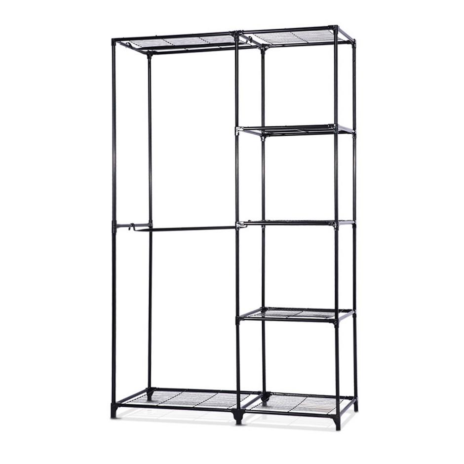 Portable Closet Organizer Storage Rack Garment Shelf Rack Black