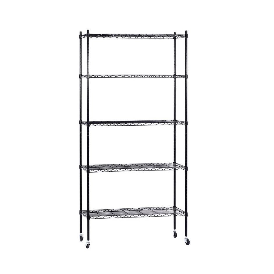 90cm 5-Tier Wire Shelving Rack Racking Storage Shelf Kitchen Portable