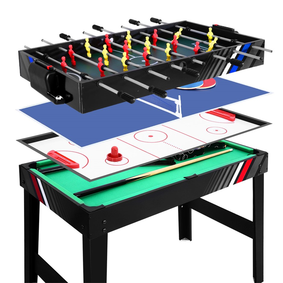 4FT 4-In-1 Soccer Table Tennis Ice Hockey Pool Game Football Kids Adult