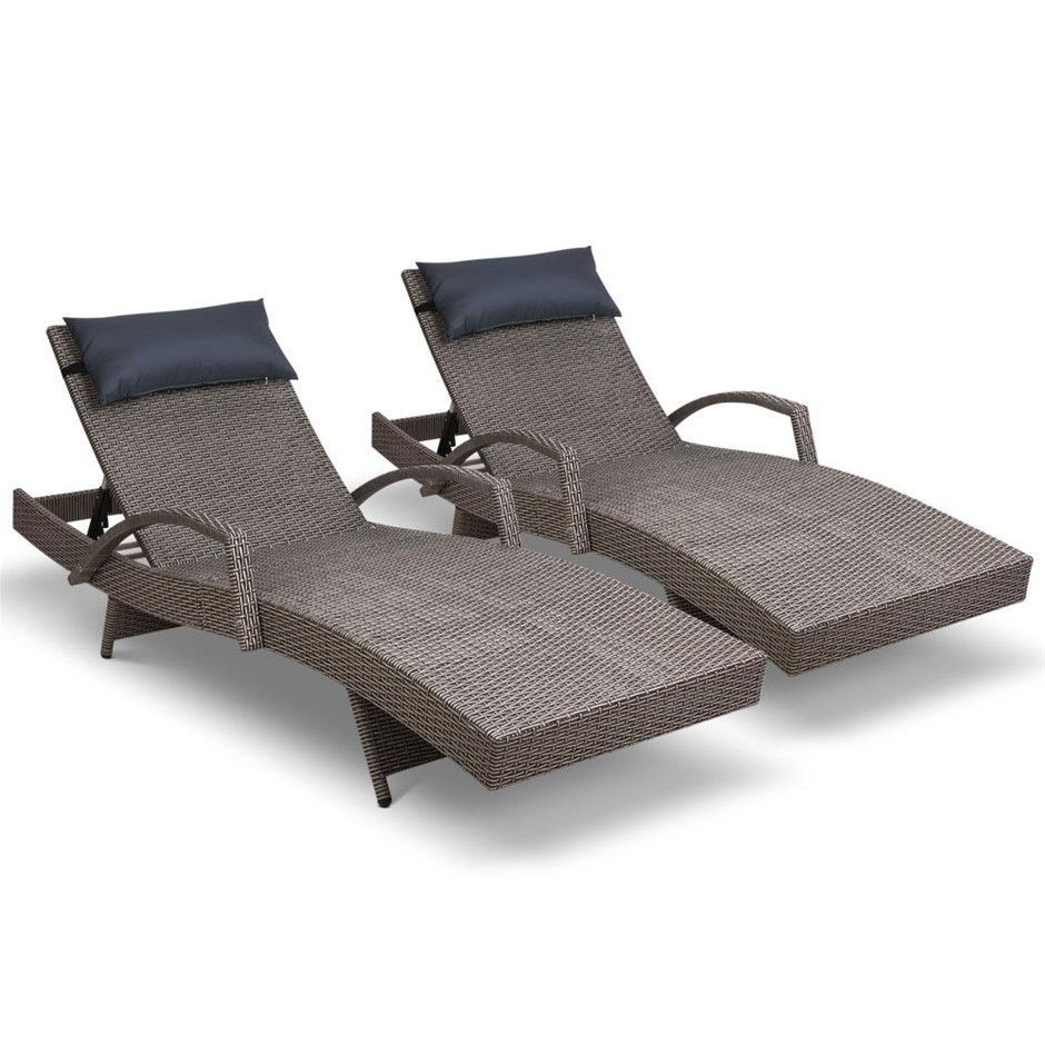 Gardeon Outdoor Sun Lounge Sofa Furniture Pool Garden Wicker Patio Grey x2