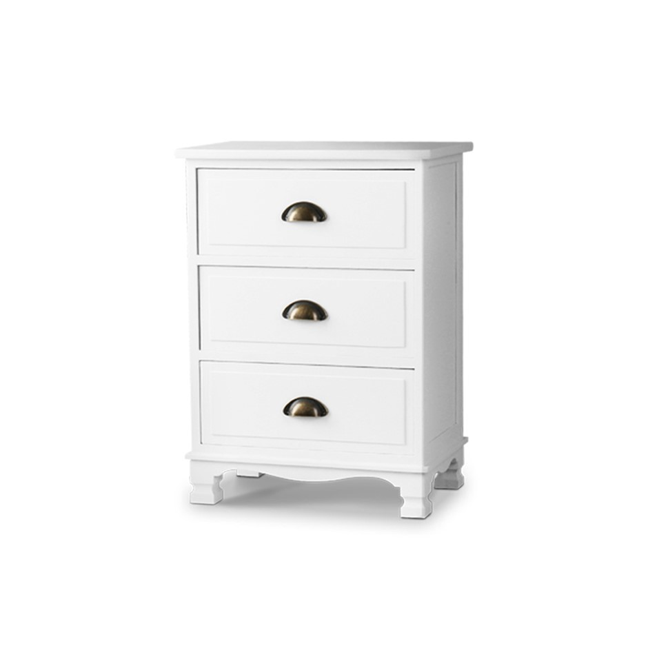 Artiss Vintage Bedside Table of 3 Drawers Storage Cabinet Nightstand White