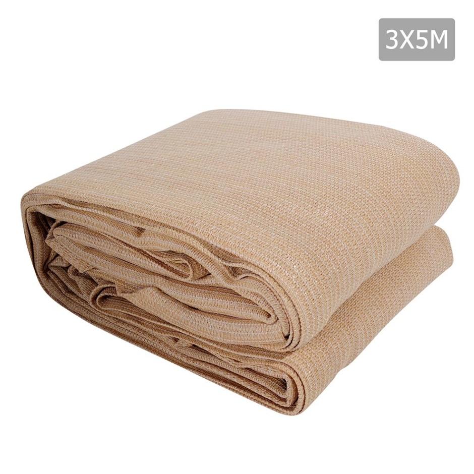 Instahut Sun Shade Sail Cloth Shadecloth Rectangle Canopy Sand 280gsm 3x5m