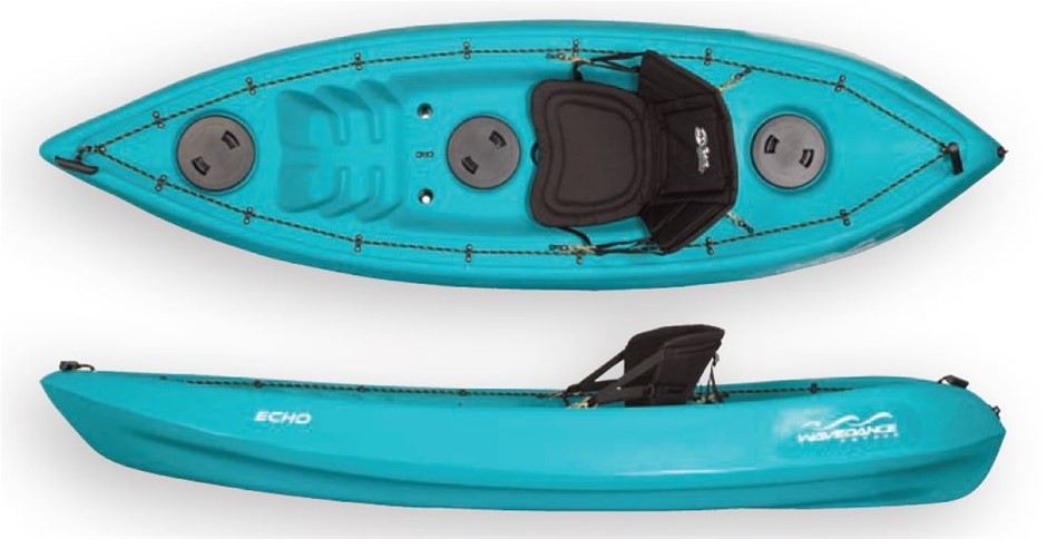 The Echo 2.7m Kayak With Seat And Paddle - Teal. By Wavedance Kayaks