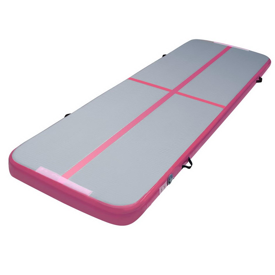 Inflatable Track Gymnastic Tumbling Air Mat Pink and Grey