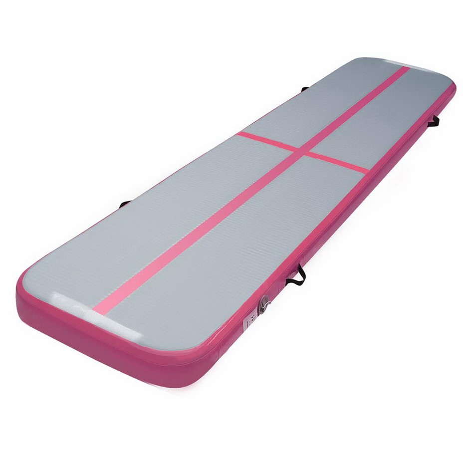 Everfit Inflatable Air Track Mat Gymnastic Tumbling 3m x 50cm - Pink & Grey