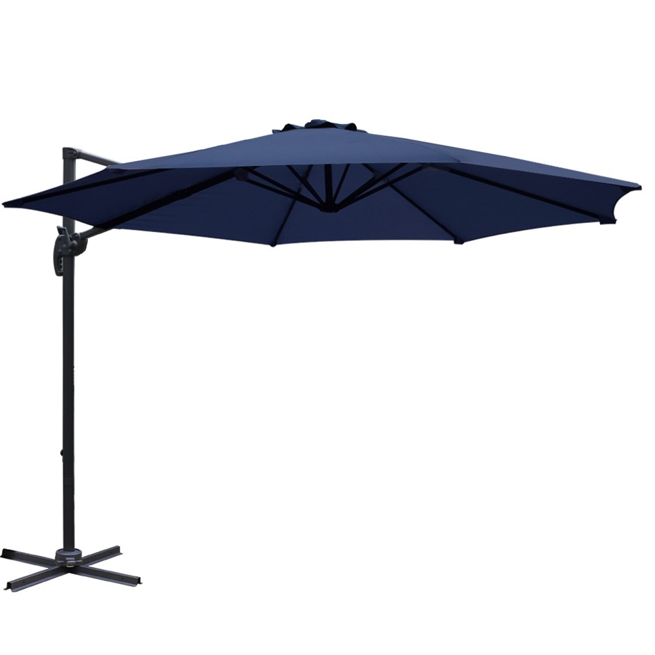 Instahut Deluxe Roma Outdoor Garden Umbrella Patio 360 Degree Navy