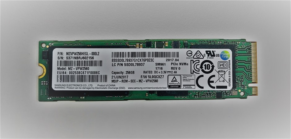 Samsung PCIe NVMe M.2 2280 256GB Solid State Drive PN: MZVPW256HEGL-000L2