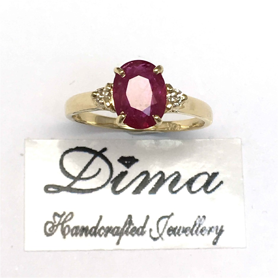 18cT Yellow Gold, 1.85ct Ruby and Diamond Ring