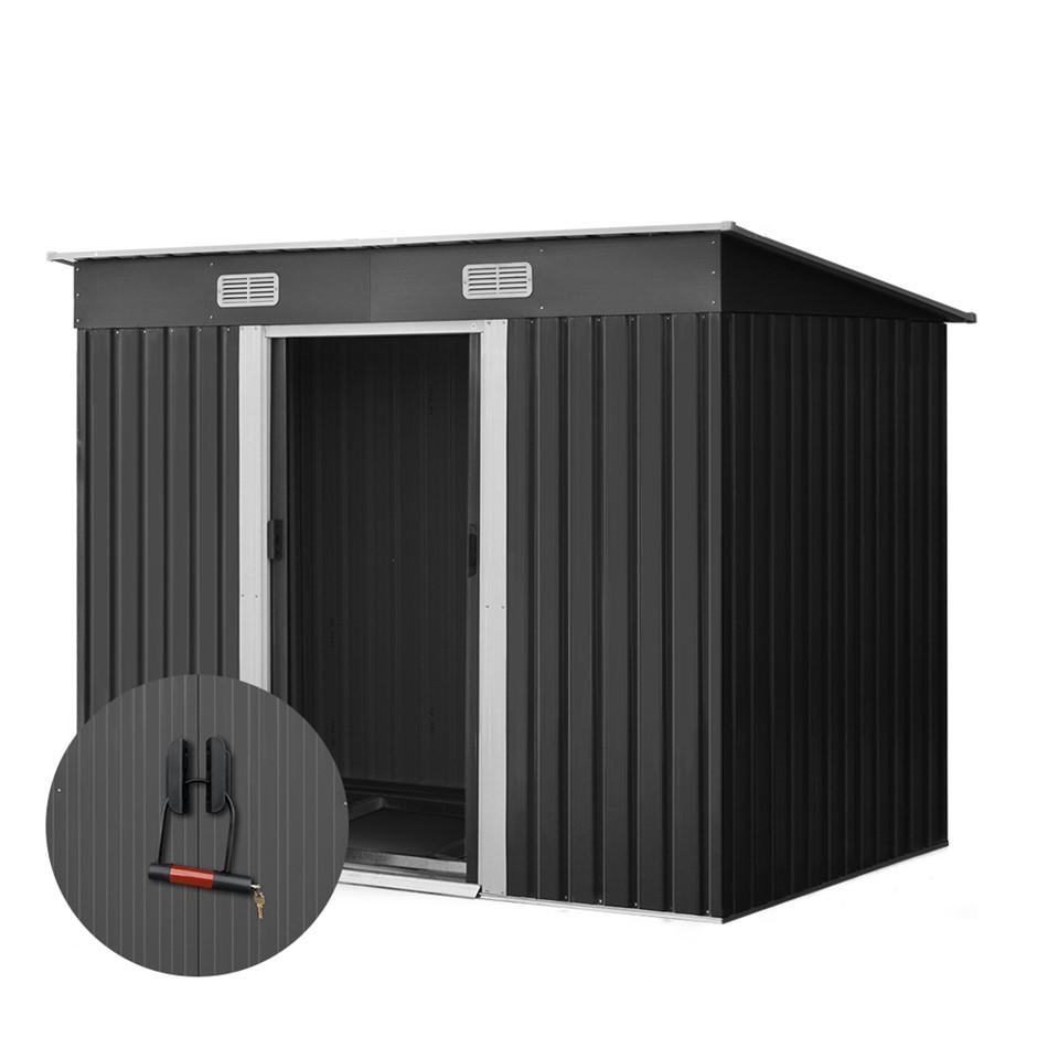 Giantz 2.35 x 1.31m Steel Base Garden Shed - Grey