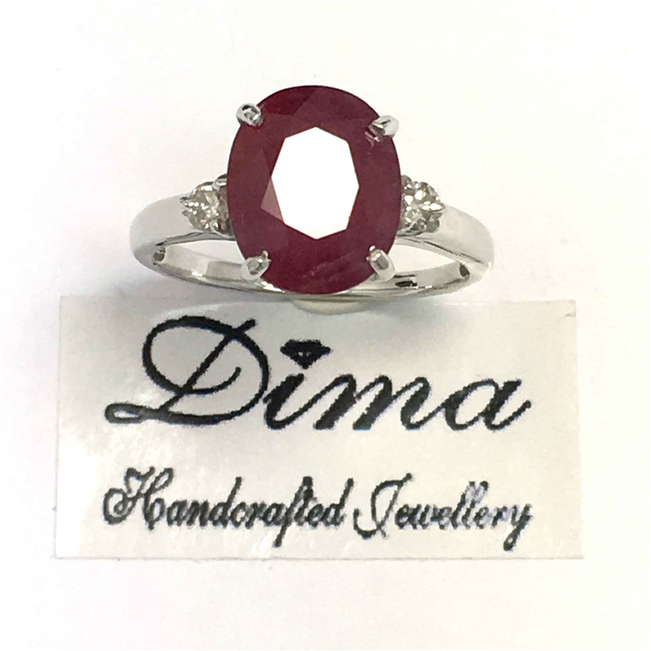 18ct White Gold, 5.06ct Ruby and Diamond Ring