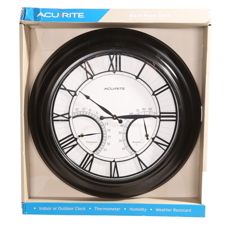 ACURITE Indoor/Outdoor Large Metal Wall Clock with Temperature & Humidity 4
