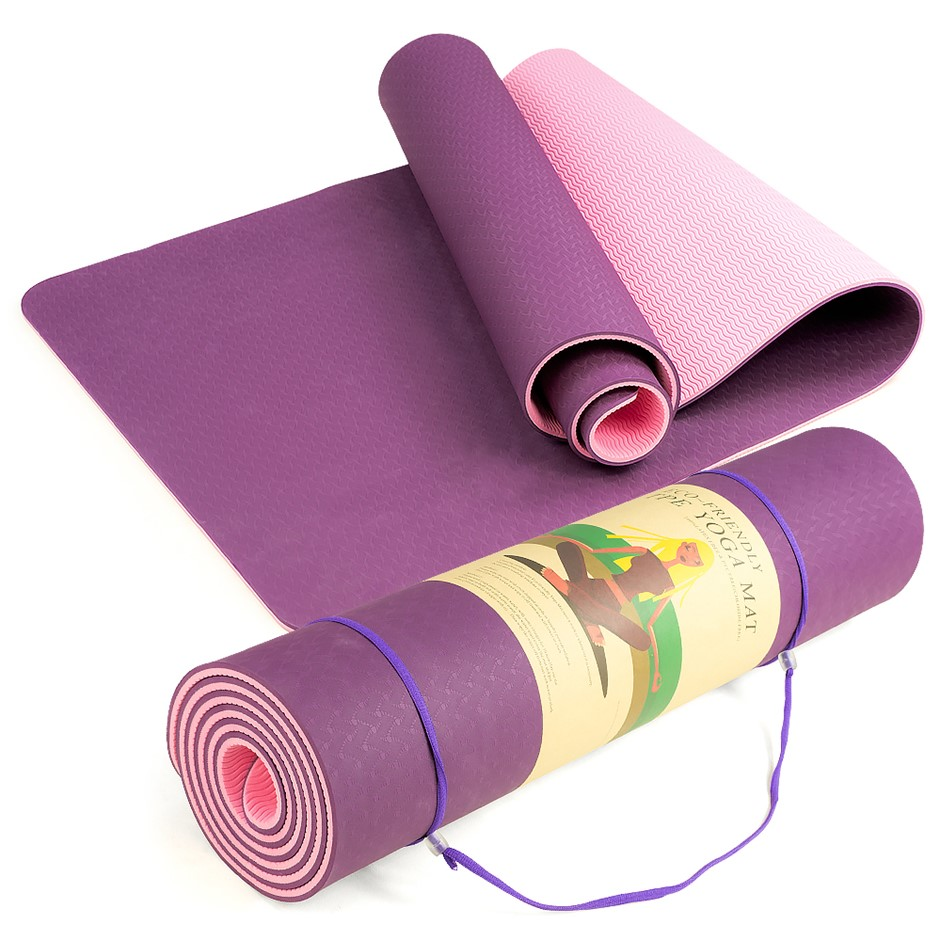 Powertrain Eco Friendly TPE Yoga Exercise Mat - Dark Purple