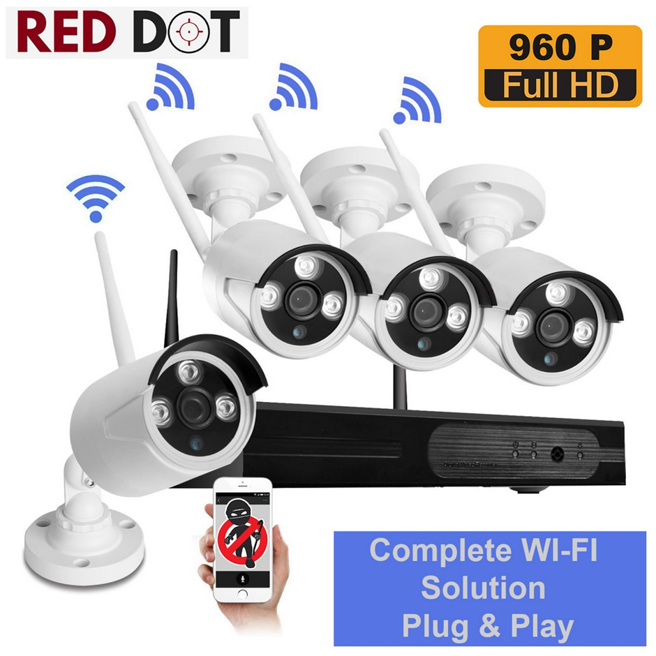 Wireless 4CH Security 960P Camera System with NVR 1080P Built-in Router