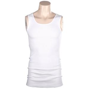 3 x Ribbed Cotton White Singlets Size L,