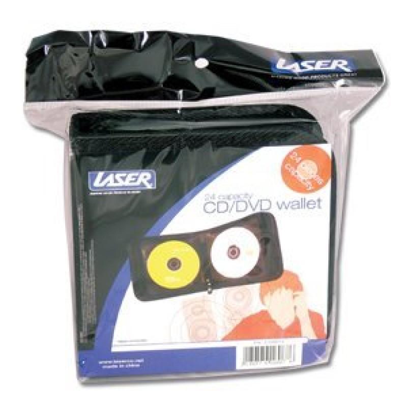 50 x Laser CD DVD Wallet 24 Capacity Fabric Zip, Black (New)