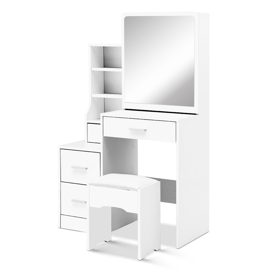 Artiss Dressing Table Stool Mirror Jewellery Cabinet Makeup Storage White