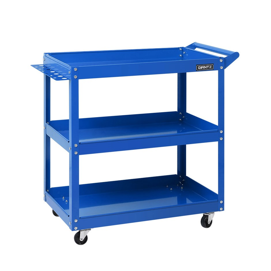 New Giantz Tool Cart 3-Tier Parts Steel Trolley Storage Organizer Blue