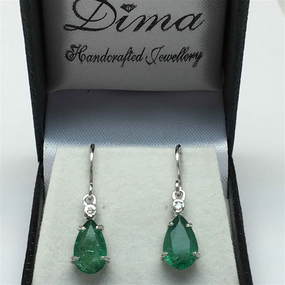18ct White Gold, 3.66ct Emerald and Diamond Earrings