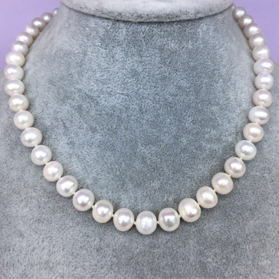 8-9mm White Cultured Fresh Water Akoya Pearl Necklace 20''
