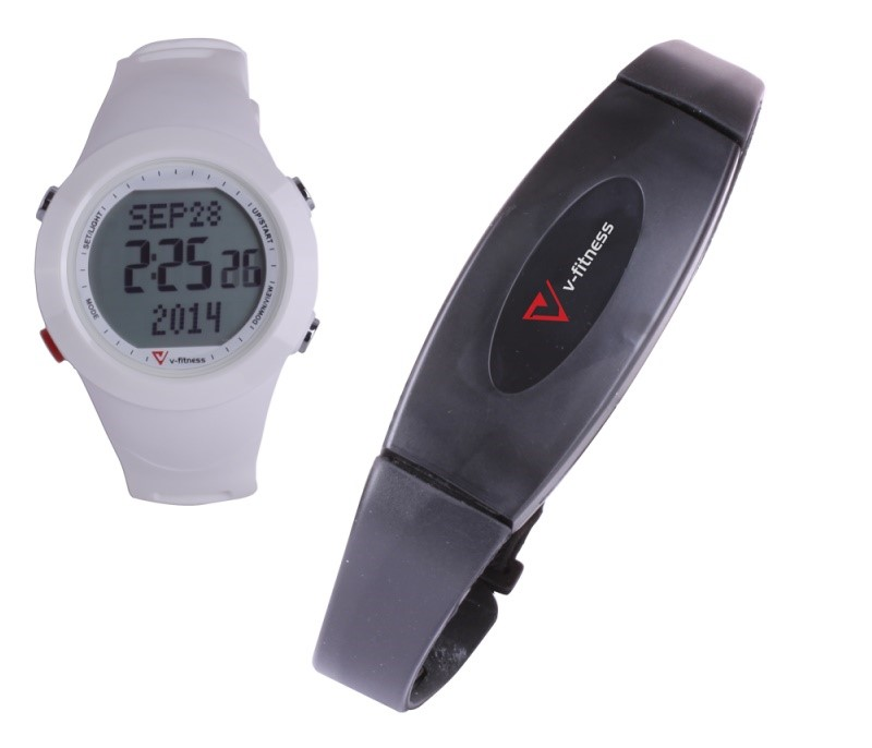 Laser V-Fitness Sports Watch HRM with 3D Pedometer, White