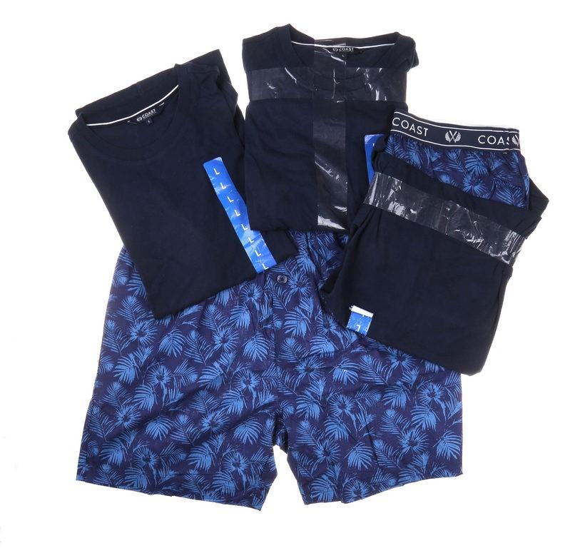 2 x COAST CLOTHING Men`s Tee & Short Sleep Set, Size L, Navy & Dark Blue. B