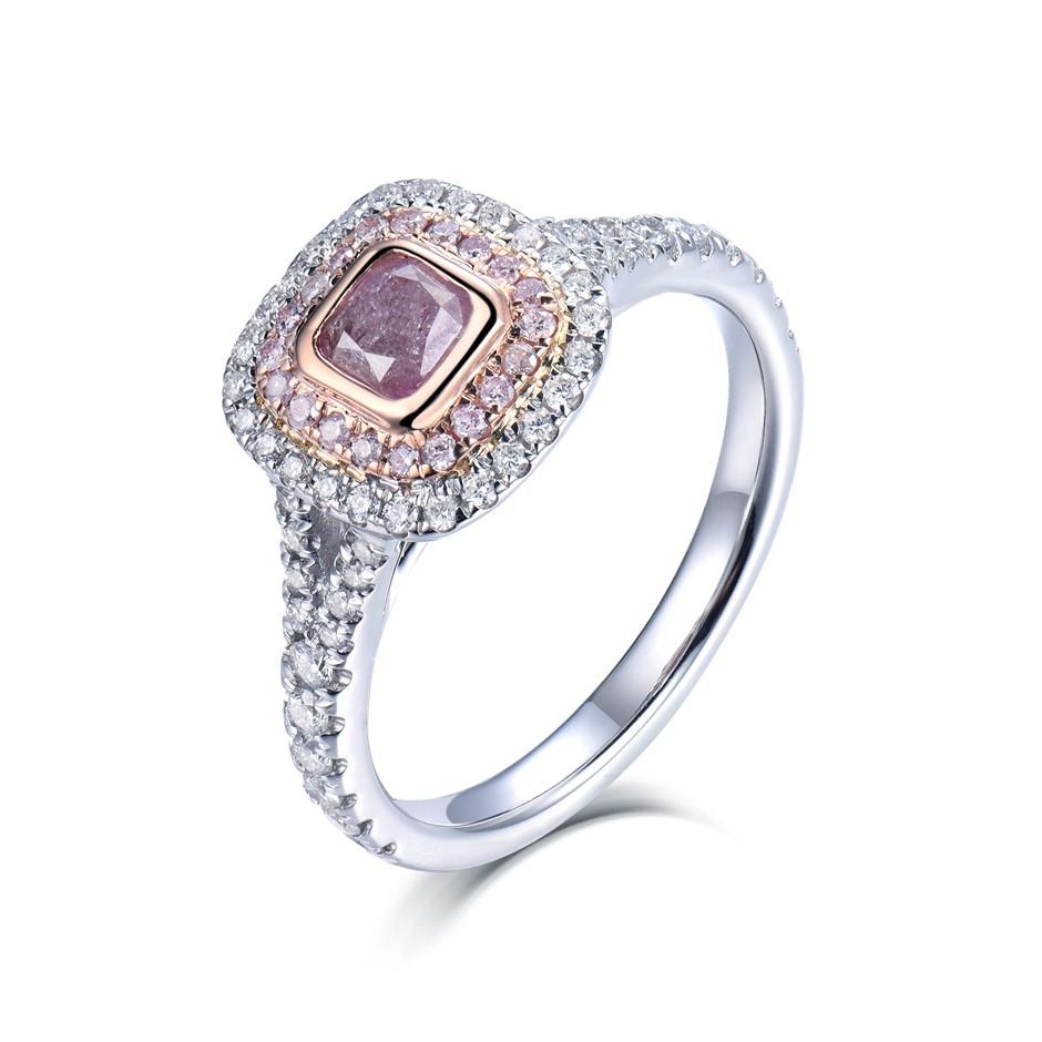 18ct White and Rose Gold, 1.06ct Diamond Ring