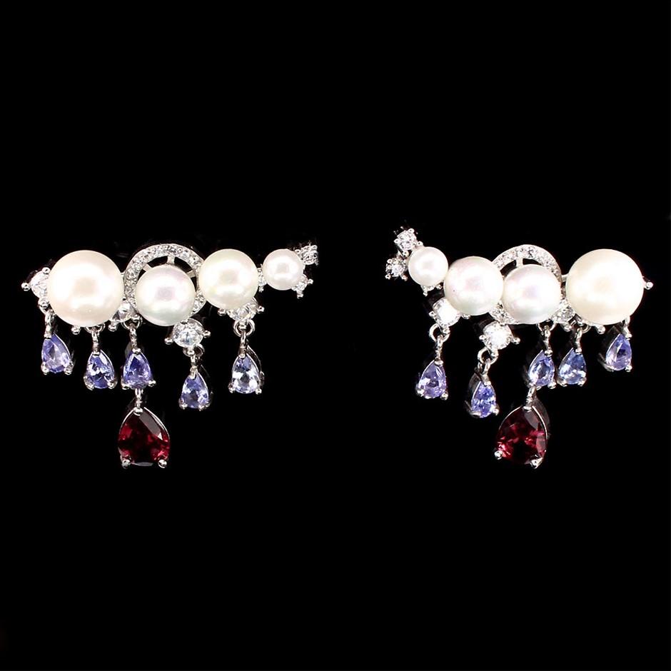 Spectacular Unique Genuine Tanzanite & Pearl Earrings