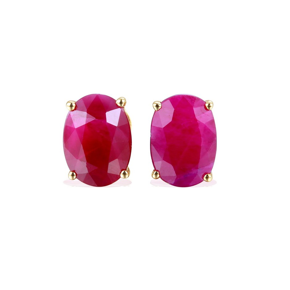 9ct Yellow Gold, 3.09ct Ruby Stud Earrings