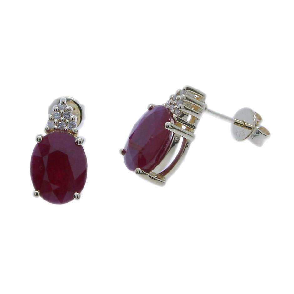 9ct Yellow Gold, 4.19ct Ruby & Diamond Earrings
