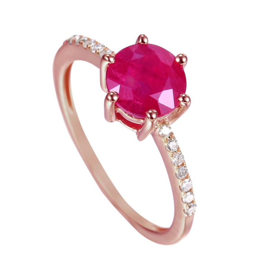 9ct Rose Gold, 1.90ct Ruby & Diamond Ring