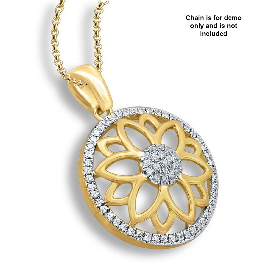 9ct Yellow Gold, 0.10ct Diamond Pendant