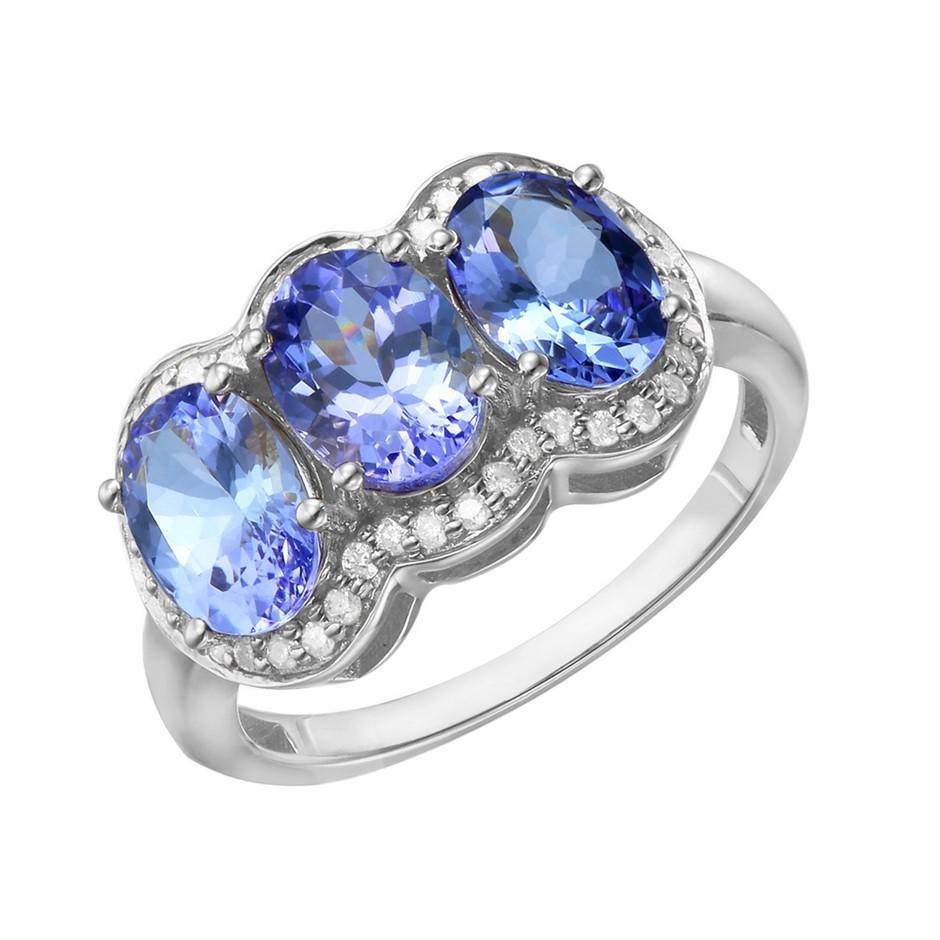 9ct White Gold, 3.13ct Tanzanite & Diamond Ring