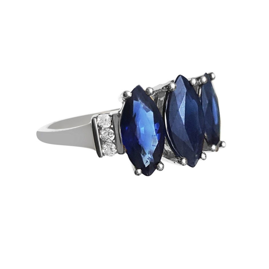 9ct White Gold, 3.08ct Blue Sapphire & Diamond Ring