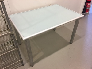 Outdoor Table with Steel Frame & Glass T