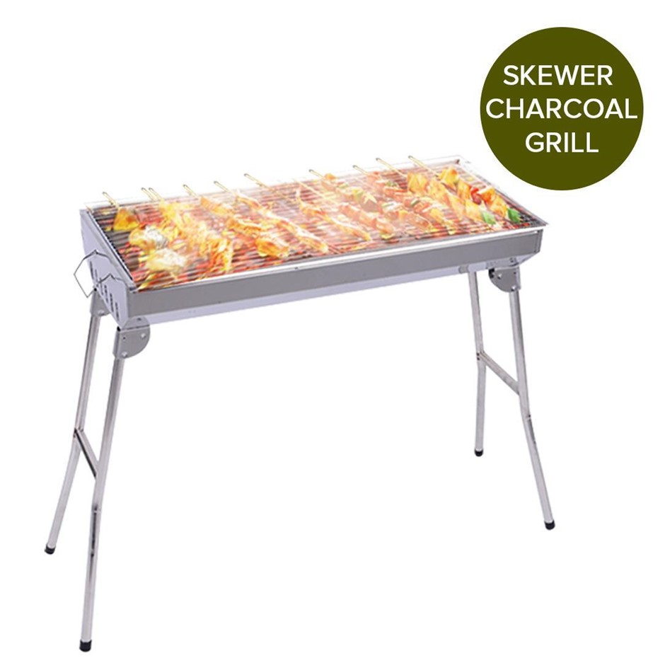 SOGA Skewers Grill Portable S/Steel Charcoal BBQ Outdoor 6-8 Persons