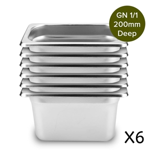 6 x Gastronorm GN Pan Full Size 1/1 GN P