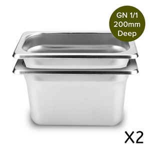 SOGA 2 x Gastronorm 1/1 GN Pan 200mm Dee