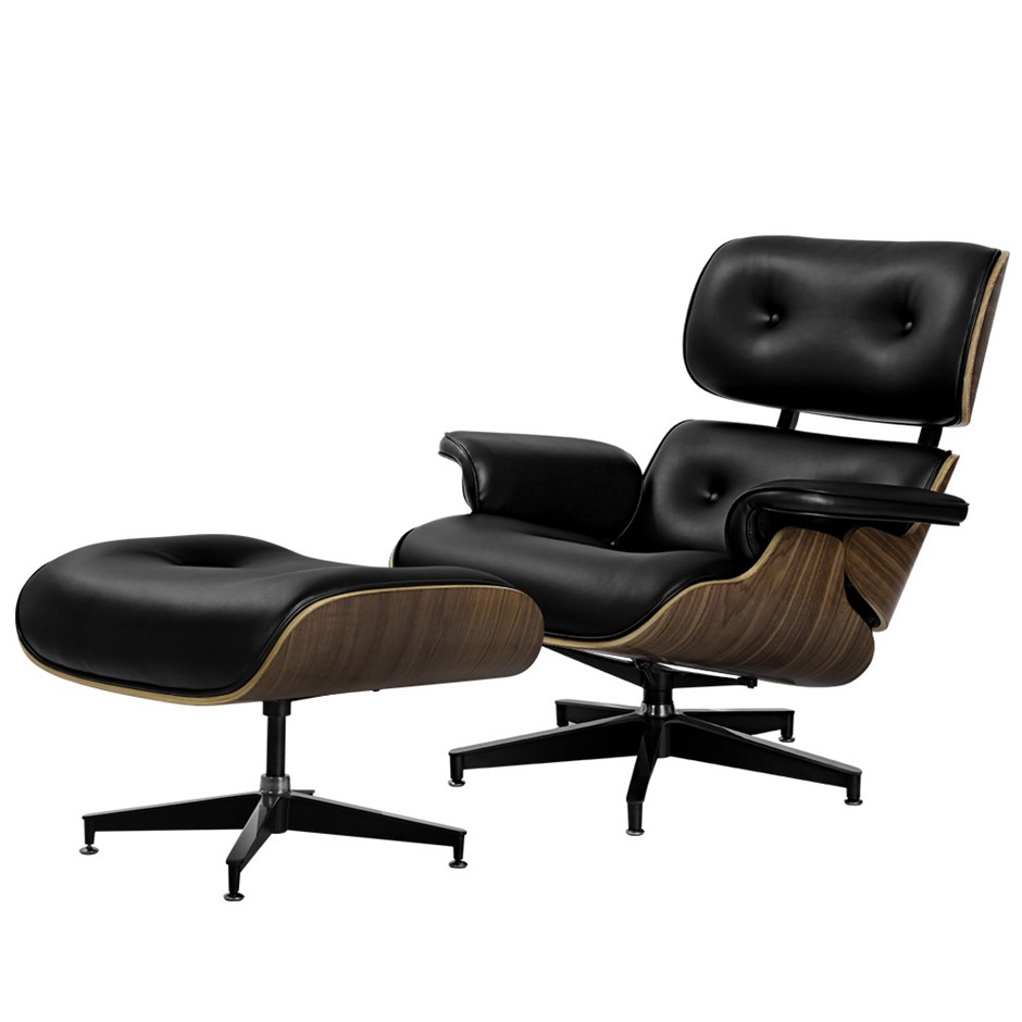 Artiss Replica Eames Lounge Chair & Ottoman Recliner Armchair Leather Black
