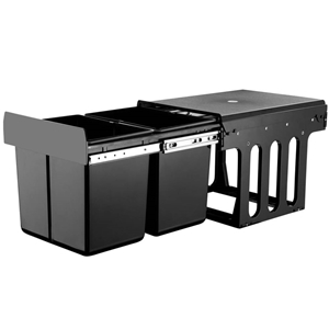 2X15L Pull Out Bin Kitchen Double Dual T