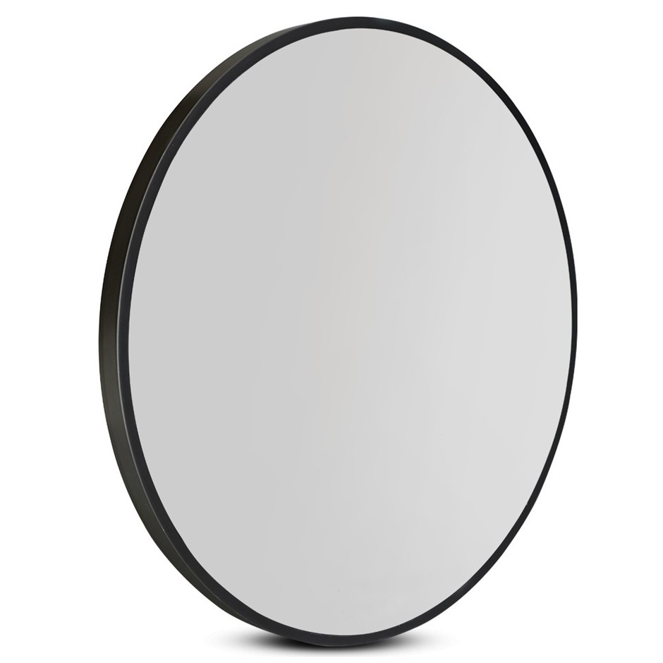 Wall Mirror 70cm Round Makeup Mirror Frameless Bathroom Vanity Decor Black