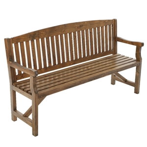 Garden Bench Chair 3 Seater Natural Wood