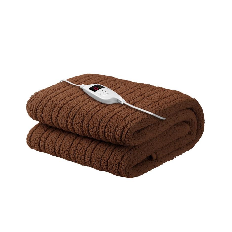 Giselle Bedding Washable Electric Heated Throw Rug Fleece Blanket Brown
